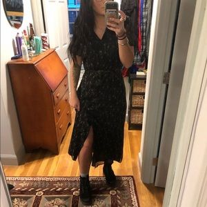 vintage maxi sheer collared button down dress